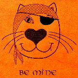 Handmade Valentines cards - Pirate Cat