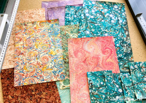 Hand marbled papers from Italy